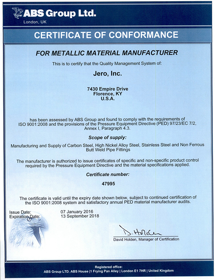 Jero, Inc :. Certificates & Accreditations